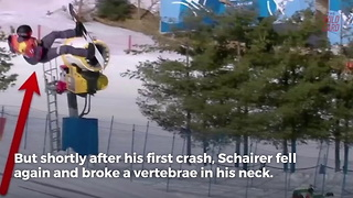 Olympian Snowboarder Breaks His Neck In Scary Fall - Video