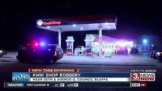 Council Bluffs Kwik Shop robbed overnight - Video