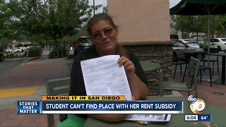 Making It in San Diego: Student can't find home with Section 8 - Video