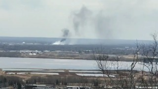 Smoke From Superior, Wisconsin, Refinery Fire Seen From Duluth - Video