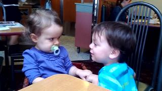 """Little Boy Gives His Grumpy Baby Sister Kisses To Make Her Feel Better"""