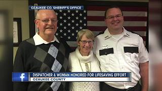 Wife, Ozaukee County dispatcher honored for saving husband - Video