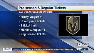 Single-game Golden Knights tickets go on sale in August