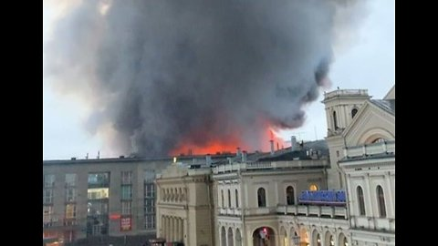 Smoke Billows From Superstore Fire in St. Petersburg