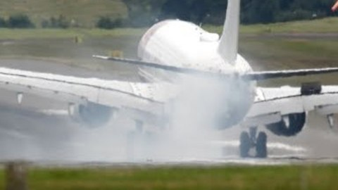 Exploding Debris Seen as Plane Makes an Emergency Landing in Birmingham