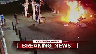 Fiery crash at gas station caught on video - Video