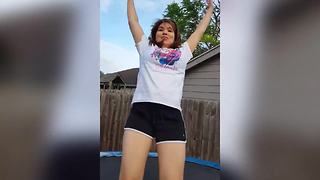 Girl Falls Off A Trampoline - Video