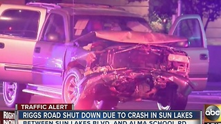 Riggs Road shut down Monday morning due to crash in Sun Lakes - Video