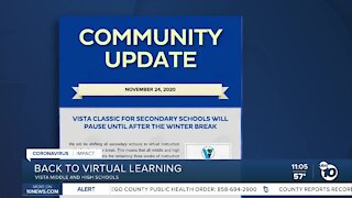 VUSD secondary schools return to virtual learning