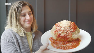 This 6-Pound Meatball Is Stuffed With Spaghetti