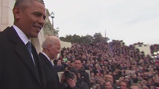 President Obama and Vice President Biden are announced at the inauguration