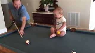 Baby has Laughing Fit Over Game of Pool - Video