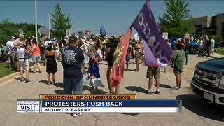 Protesters follow Trump from Milwaukee to Racine County