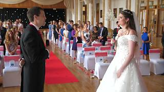 Bride And Groom Sing Duet Down Wedding Aisle - Video