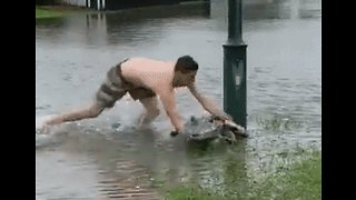 Dad Teaches Kids How to Handle a Croc in Queensland Flood - Video