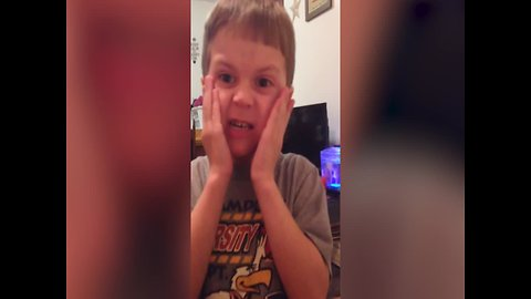 Boy makes Hilarious Faces when Trying Sour Candy