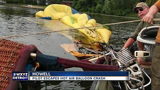Pilot escapes hot air balloon crash in Howell - Video