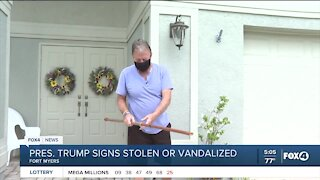 Political signs stolen from neighborhood