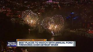 Best places to watch 59th Annual Ford Fireworks over Detroit River - Video