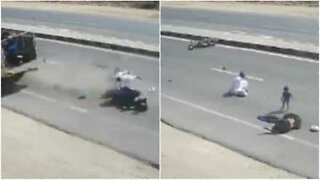 Indian family survives a terrifying motorcycle accident!