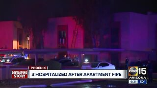 3 hospitalized after apartment fire in Phoenix