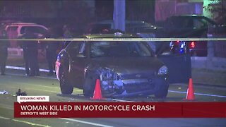 Woman killed in motorcycle crash on Detroit's west side
