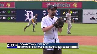 Salvatore Cipriano throws out first pitch at Detroit Tigers game