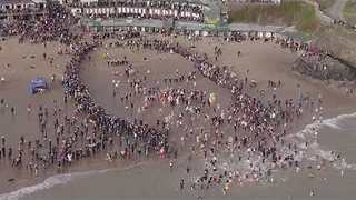 New Year's Day Swim Captured From Above in Wales - Video