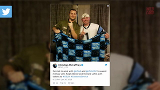 Christian McCaffrey Surprises Two Marine Veterans With Super Bowl Tickets - Video