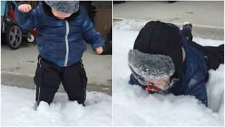 This kid's first experience with snow was traumatizing