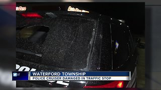 Waterford Twp. police cruiser damaged in traffic stop - Video