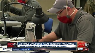 Edwards AFB airmen stitch masks instead of parachutes
