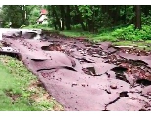 Roads Washed Out by Flash Flooding in Houghton
