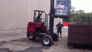 Heavy Load Tips Over Forklift - Video