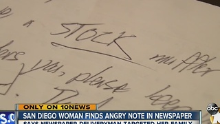 San Diego woman finds angry note in newspaper - Video