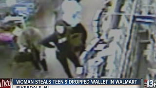 Woman steals teen's dropped wallet - Video