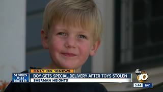 Boy gets special delivery after toys stolen