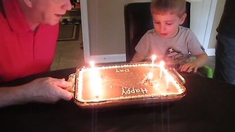 Funny Tot Boy Takes Over His Grandpa's Birthday Party