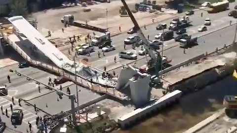 Shocking footage shows the immediate aftermath of the Florida bridge collapse which has left 'several dead'