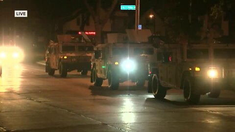 National Guard arrives at Milwaukee Police District 5 Saturday night