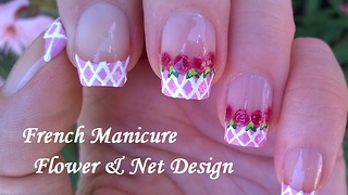 Baby Pink French Manicure With Flower & Net Nail Design