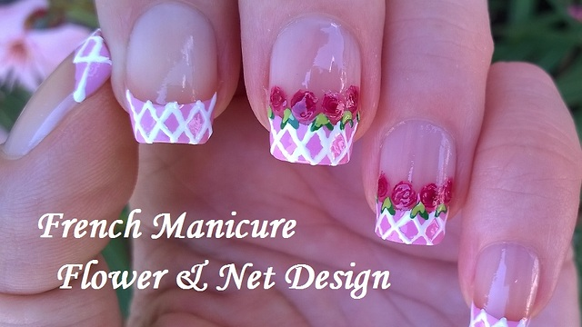 Baby Pink French Manicure With Flower Net Nail Design
