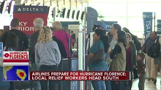 Airlines prepare for Hurricane Florence, local relief workers head south - Video
