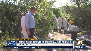 Crews clean private properties along San Diego River - Video
