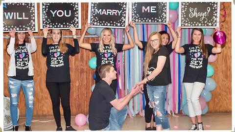 Gender reveal ends with surprise marriage proposal