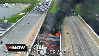 I-75 at Fowler closed in both directions due to fiery crash involving semi