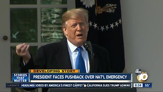 President faces pushback over national emergency