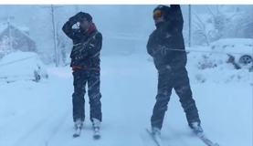 Rutgers Students Turn Severe Weather Into Winter Sport by Skiing Through the Streets - Video