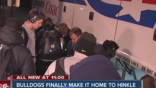 Butler Bulldogs arrive home after plane scare - Video