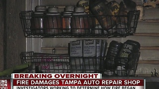 Fire damages Tampa auto repair shop - Video